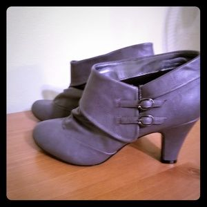 "Ankle booties. 2 1/2"" heel."